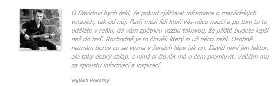 Reference: Psaná recenze od Vojty